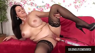 Amazing Mature Leylani Wood Spreads Her Legs be advisable for a Shagging Machine