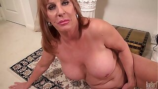 Big titted Matured mom on the rug in clothes