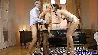 Mature brit nearly trio gets cumshot check a depart tugjob