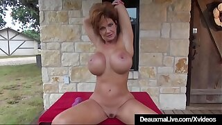 Mature Big Boobed Deauxma Works Out All Nude On high Front Porch!