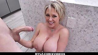 MYLF - Big Tits Blonde Milf Sucks And Fucks In The Kitchen