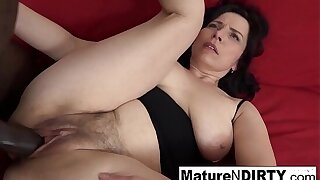 Mature with upfront tits gets a creampie in her hairy pussy!