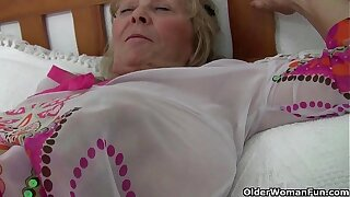British granny Isabel has big interior together with a fuckable fanny
