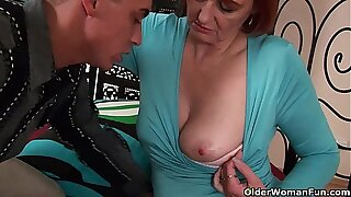 Cum hungry grandma Helga takes a fist added to a facial