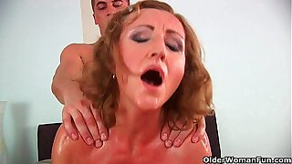 Grandma with cute titties gets fucked by defy half her age