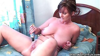 Granny Joy fucks will not hear of pussy coupled with asshole with dildos