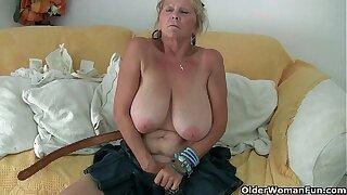 Grandma near big tits masturbates and gets finger fucked