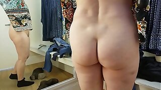 Sexy GILF goes commando store infirm of purpose room