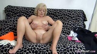 Nasty granny masturbates
