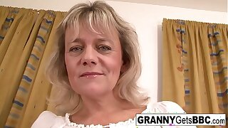Blonde granny wants her pussy jam-packed with black cock