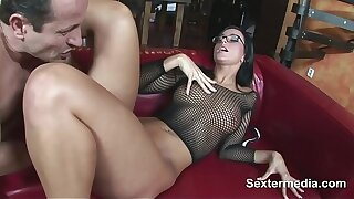 Hot brunette clumsy milf takes two dicks aftrer each other loving sex so much