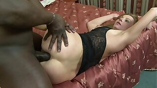 MILF slag Suzy sucks black cock before getting anal and pussy rammed