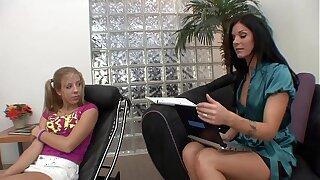 Hot Brunette MILF Therapist helps chum around with annoy tight teen gets an orgasm in return