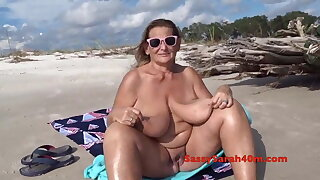 Huge saggy tits on the littoral