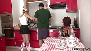 Future mother together with teen toying up ahead cookhouse