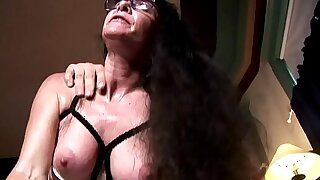Horny old spunker in sexy lingerie loves a unhandy facial cumshot