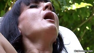Lesbian old lady girl outdoor orgy