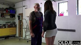 Old man fucks young girl his small cock fucks their way mouth and pussy