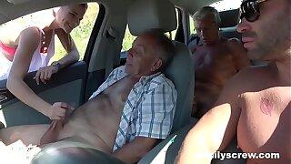 Whirl Slut Fucking with Grandpa, Son and Essayist