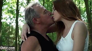 Sexy young redhead seducing grandpa increased by has incredible intercourse with him