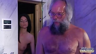 Teen Beast Cock Massage and Pussy fuck with big gumshoe grandpa super hot