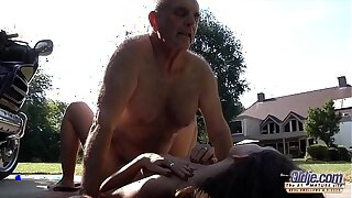 Grandpa fucks young pussy so mean plus wet ready for cum