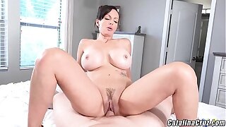 Catalina Cruz Scalding Housewife gets dick coupled with creampie