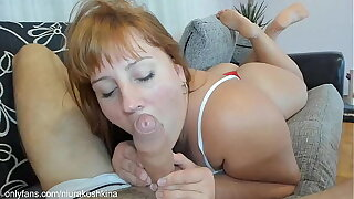 ammunition milf sensually together with sloppy sucking my big dick on along to first date