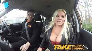Fake Driving Bus squirting orgasm gaffer milf takes creampie after lesson