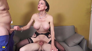 Mature MILF gets three cocks in all respects holes