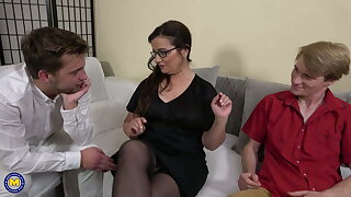 Mature teacher and two stupid hung boys